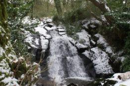 A snowy Darrynane waterfall
